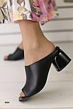 Женские сабо на каблуке, черные кожаные, фото 2