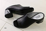 Женские сабо на каблуке, черные кожаные, фото 4