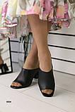 Женские сабо на каблуке, черные кожаные, фото 5