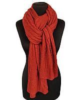 Вязаный шарф терракотовый Косичкой