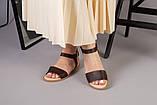 Женские темно-крочневые босоножки кожа питон, фото 2