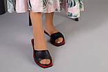 Женские черные кожаные шлепанцы, фото 2