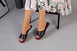 Женские черные кожаные шлепанцы, фото 5