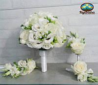 Букет невесты из роз, фрезий и эустом, фото 1