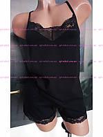 Пижама женская шорты и майка, S, M, L, XL Mariya,  черный , хлопок