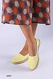Женские эспадрильи кожаные с перфорацией желтые, фото 3
