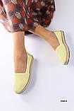Женские эспадрильи кожаные с перфорацией желтые, фото 6