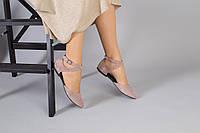 Замшевые босоножки с закрытым носком, темный беж