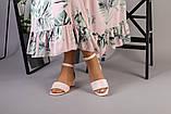 Кожаные босоножки цвет пудра, каблук 4 см, фото 2