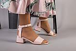 Кожаные босоножки цвет пудра, каблук 4 см, фото 3