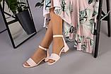 Кожаные босоножки цвет пудра, каблук 4 см, фото 4