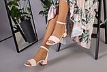 Кожаные босоножки цвет пудра, каблук 4 см, фото 5