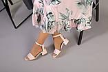 Кожаные босоножки цвет пудра, каблук 4 см, фото 7