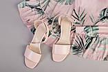 Кожаные босоножки цвет пудра, каблук 4 см, фото 10