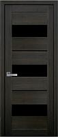 Межкомнатное полотно Лилу Дуб мускат 600 мм со стеклом BLK (черное), ПВХ Ультра.