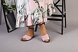 Пудровые замшевые босоножки с закрытой пяткой, фото 3