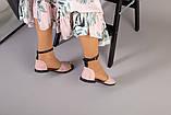 Пудровые замшевые босоножки с закрытой пяткой, фото 7