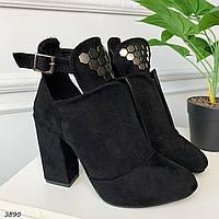 40 р. Ботинки женские деми черные замшевые на высоком каблуке, демисезонные, из замши, замша