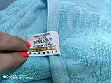 Махровая жаккардовая простынь 200*220 Тм By Ido Синяя, фото 3