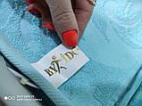 Махровая жаккардовая простынь 200*220 Тм By Ido Синяя, фото 4