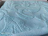 Махровая жаккардовая простынь 200*220 Тм By Ido Синяя, фото 5