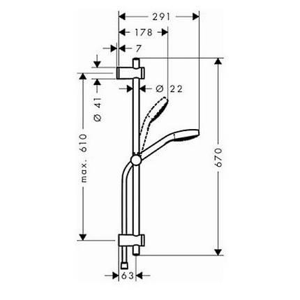 Душевой набор 0,65м Hansgrohe MySelect E 1jet EcoSmart 26752400, фото 2