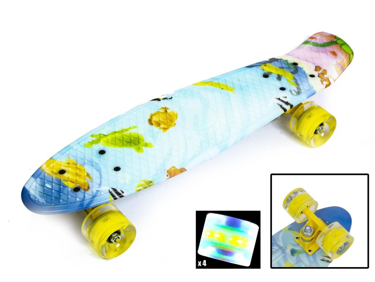 Скейт Пенни борд Penny Board Print Led 22 - Пенні борд Рыбки 54 см