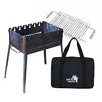 Раскладной мангал чемодан на 6 шампуров из стали с сумкой и решеткой, фото 1