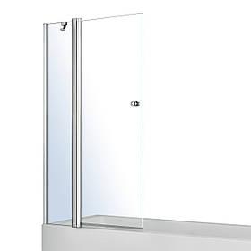 Шторка на ванну, с одним неподвижным элементом и поворотным на 180°, с подъемом 1200X1400, прозрачное стекло 6мм, с креплением со стены и ручкой