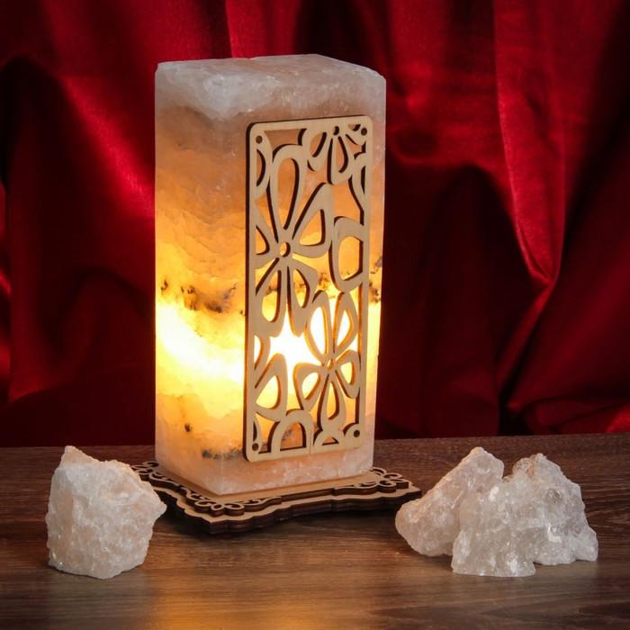 Соляной светильник Прямоугольник узор Ромашки