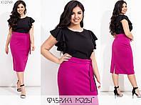 Эффектное платье с короткими рукавами (2 цвета) ЮГ/-1423 - Малиновый/черный, фото 1