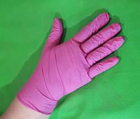 Перчатки нитриловые неопудренные Medicom   М розовая пара