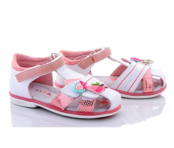 Бело-розовые закрытые босоножки для девочки