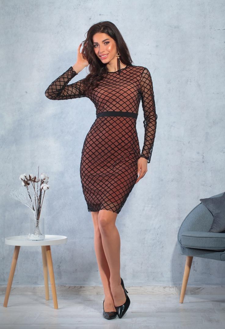 Женское платье нарядное сетка ромбы