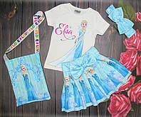 Костюм Эльза с сумочкой белая футболка  2-8 лет( 004294) 2-3 года