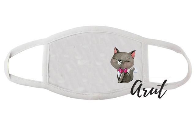 Стильная тканевая маска для лица Милый котик