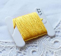 Мулине имитация шелка, 4м, 6 сложений, желтый темный