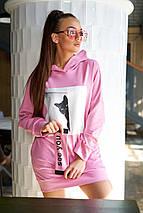 Женское трикотажное свободное удлиненное худи (Мальро mm), фото 2