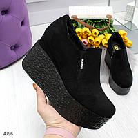 Молодежные черные замшевые женские туфли весна 2020