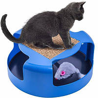 Когтеточка-игрушка для кошек и котят Cat & Mouse Chase Toy с мышкой синий цвет