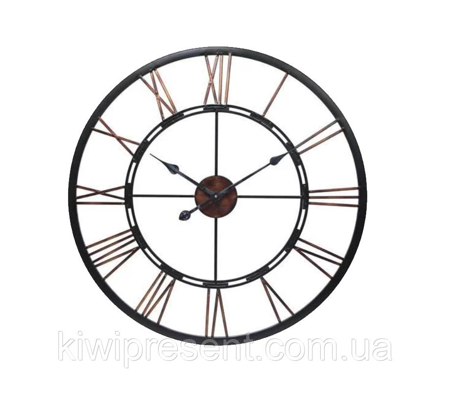 """Настенные часы из металла  """"Колесо..."""" (90 см). Стильные классические часы на стену большого размера."""