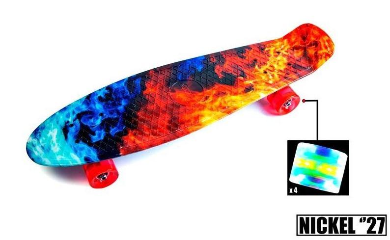 "Скейт скейтборд пенни борд Nickel 27"" светящиеся колеса fire & ice"