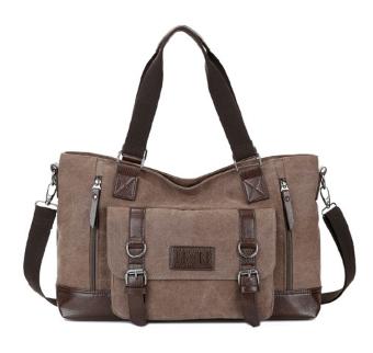 Велика чоловіча сумка коричнева мішковина ( код: С452 )