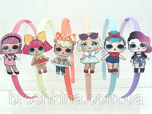 Детские обручи для волос куколки ЛОЛ пластик 12 шт/уп.