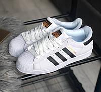 Adidas Superstar white black Мужские кроссовки Адидас Суперстар бело-черные 44
