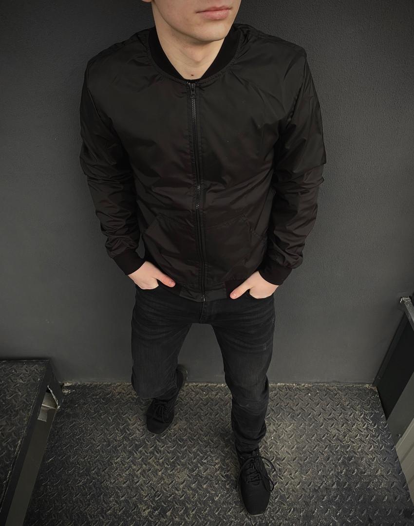Бомбер мужской на молнии, стильная молодежная ветровка, весенняя куртка черная