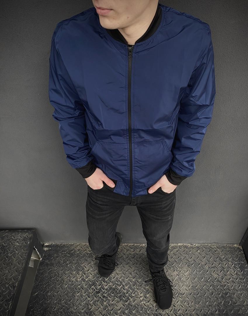 Бомбер мужской на молнии, стильная молодежная ветровка, весенняя куртка синяя