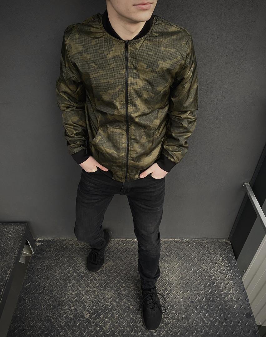 Бомбер мужской на молнии, стильная молодежная ветровка, весенняя куртка, цвет камуфляж