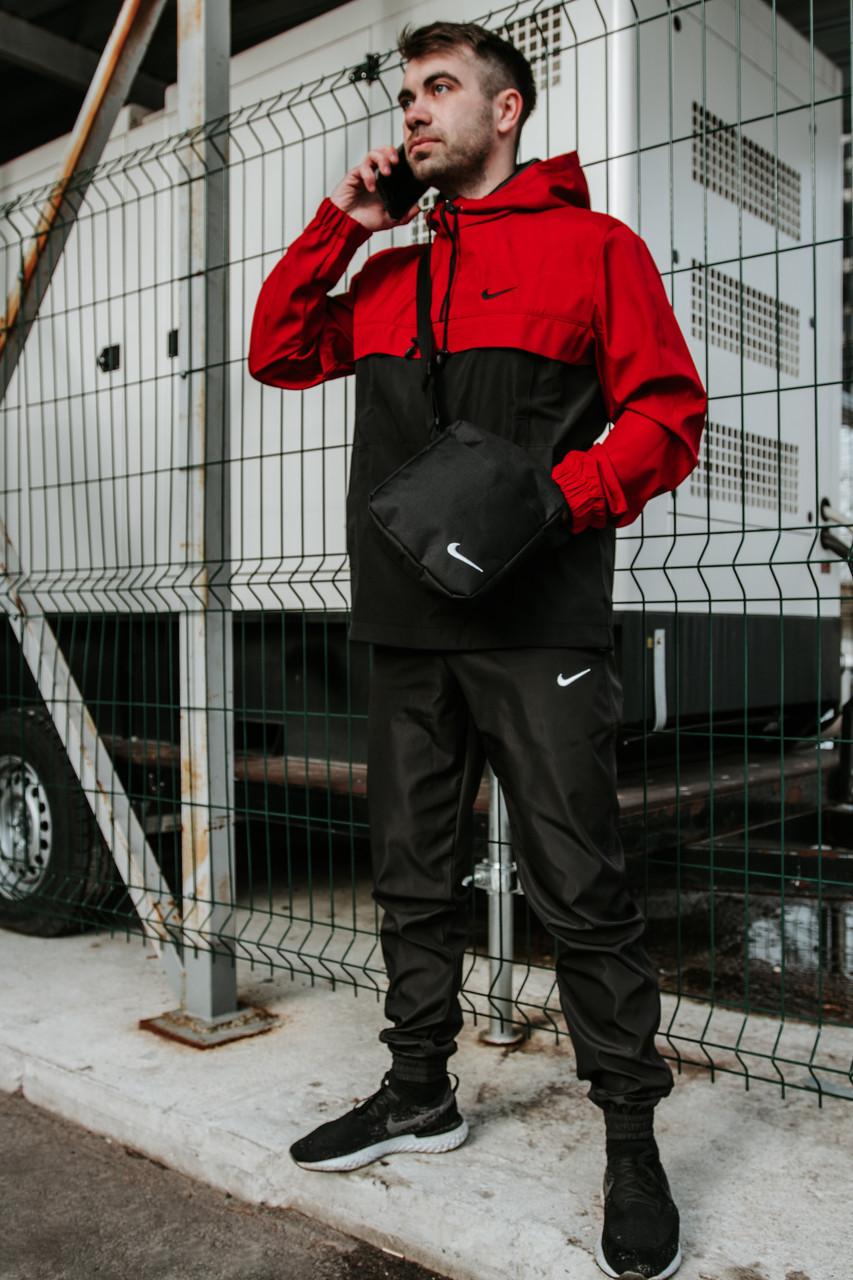 Мужской спортивный костюм с капюшоном President, спортивые штаны, куртка анорак красная + Подарок