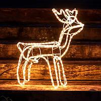 Светодиодный Олень 120х110х55 см. Christmas Reindeer 3D с движущейся головой, цвет оранжевый, фото 1